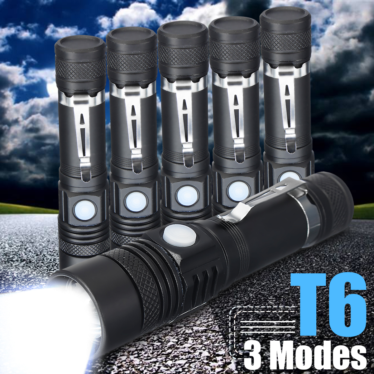 Powerful T6 LED Flashlight Mini Handy Torch USB Rechargeable Penlight 3 Mode Zoom Waterproof Fishing Flashlight By 18650 Battery zoom mini led flashlight pocket clip torch work light 14500 rechargeable penlight super bright powerful adjustable focus