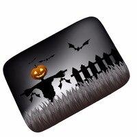 מחצלות מוזמנים MDCT יום ליל כל הקדושים שמח עטלף שחור כתום דלעת עיניים רעות אזור דלת סלון שטיחים מחצלות רצפת זמש שטיח