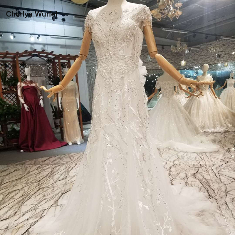 LS01980 mermaid wedding dresses like white o neck cap sleeves beaded crystal cheap wedding gowns with