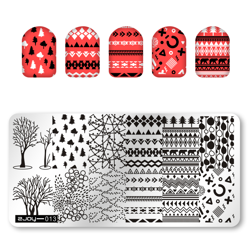 ZJOY-013 1Pc Rectangle Nail Art Stamping Plate Pine Tree Geometry Diamond Pattern For Image Printing Template MFNAILS