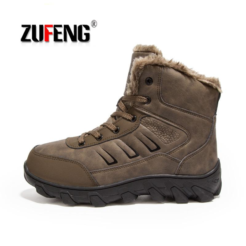 Men Fur Winter Snow Boots Autumn Non-Slip Men Climbing Outdoor Mid Hiking Mountain Sport Trekking Shoes Waterproof Men Footwear цена