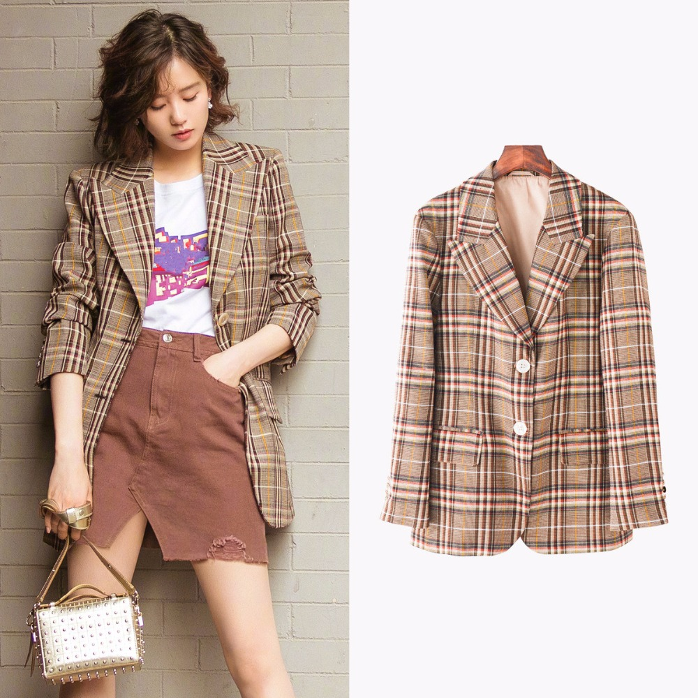 Fashion women's BF style plaid blazers jackets New 2019 spring summer casual suit jackets coat A082 Price $85.99