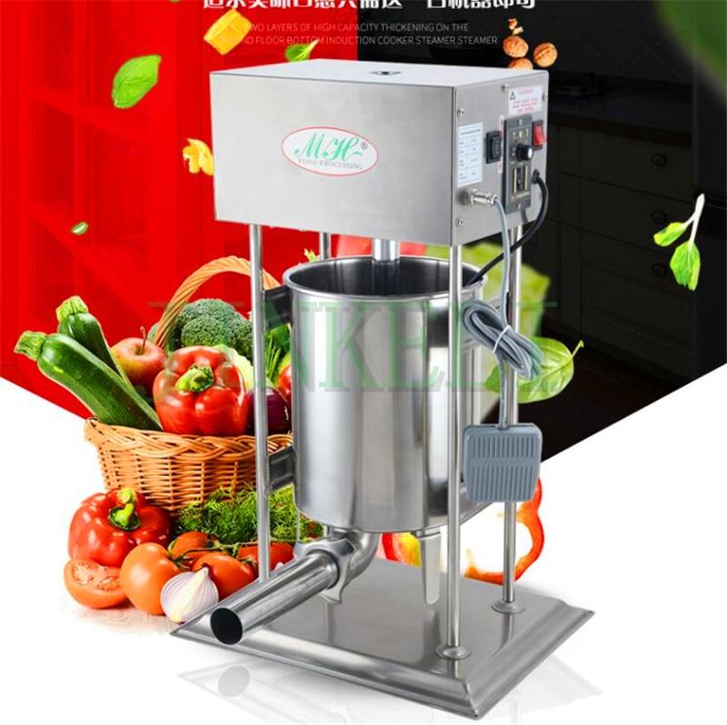 Nous fournissons électrique 10L, 12L, 15L, 18 automatique machine de remplissage de saucisse d'acier inoxydable 110/220 V machine de bourrage de saucisse