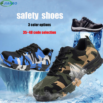 Summer Work Shoes Breathable Safety Boots Stainless Steel Bracelet Toe Genuine Leather Shoes Men Casual Protective Footwear Male big size men fashion breathable steel toe cap working safety shoes genuine leather slip on tooling boots protection footwear