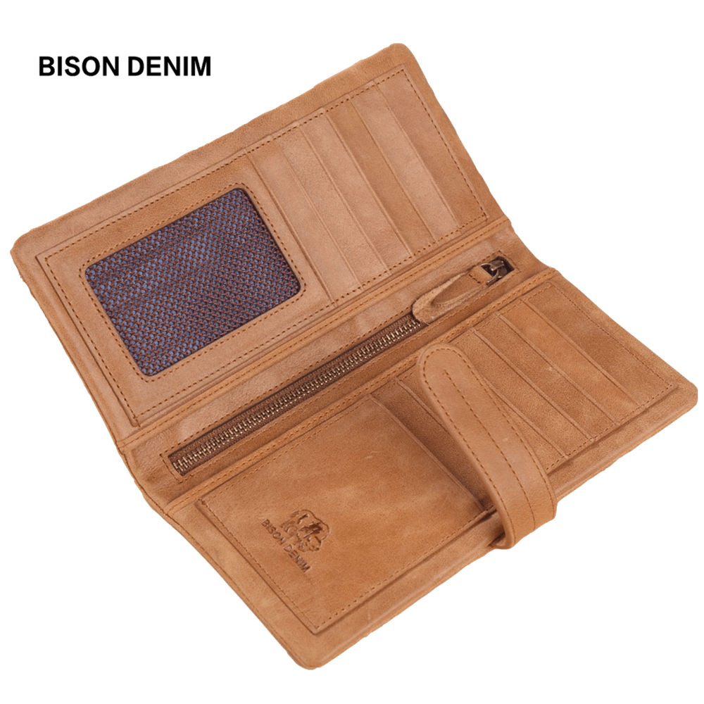 BISON DENIM Cowhide Leather Women Wallet Long Clutch Bag Female Wallet Vintage Card Holder Coin Purse carteira feminina W4401-1 100% women genuine leather wallet oil wax cowhide purse woman vintage lady clutch coin purses card holder carteira feminina