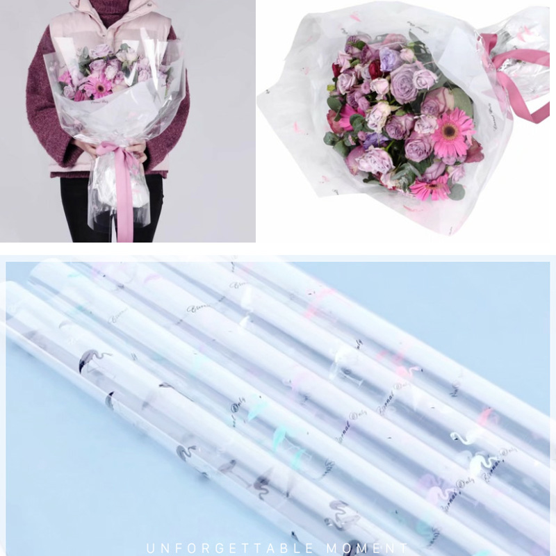Us 6 99 10 Pcs Thickening Series Cellophane Flower Bouquet Wrapping Opp Waterproof Material Flamingo Florist Supply Packing 60 60 Cm In Party Diy