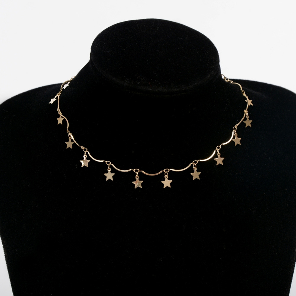 Sexy Red Stone/Sequins/Stars/Moon Pendant Multilayers Choker Necklaces Gold/Silver-Plated Collar Jewelry