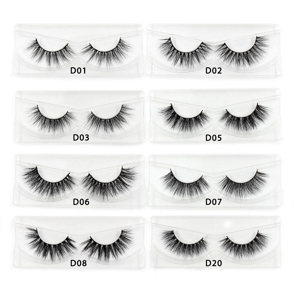 Mink Lashes 3D Mink Eyelashes Cruelty Free Natural False Eyelashes Volume Lashes  Real Mink Fur Handmade Crossing Thick Lash D06