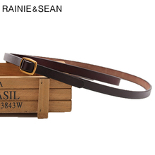 RAINIE SEAN Ladies Waist Belt Genuine Leather Dress Skinny Women Square Buckle Coffee Female Elegant French Cowhide