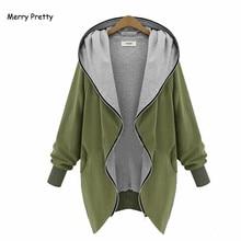 Merry Pretty Plus size Women thin outerwear jackets hood zipper-up sweatshirts female long-sleeve army green tops hoddies coats