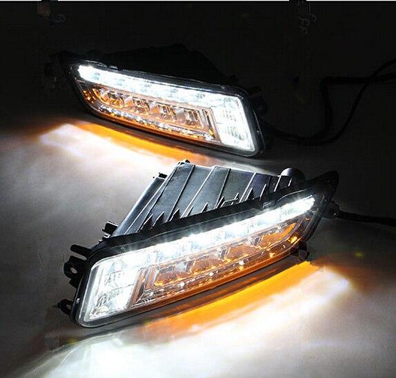 ФОТО Turn Signal and Turn Off Style 12V LED Car DRL Daytime Running Lights Fog Lamp for Volkswagen Santana 2013 2014