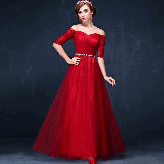Half Sleeve Red Evening Dress 2016 New Elegant Evening Gowns Party ...