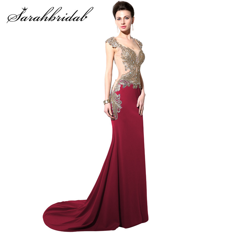Burgundy Long   Evening     Dresses   Mermaid with Embroidery Crystals Prom Party Gowns Real Photo Floor-length CC003