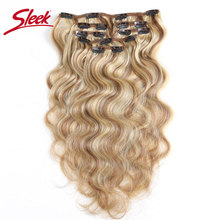 Sleek Colorful Hair 7Pcs Clip In Human Hair Extensions Brazilian Body Wave Bonde P6/613 Color Hair Full Head Sets Remy Hair