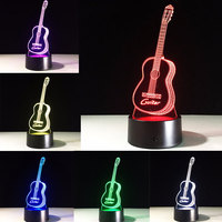 New Guitar 3D Night Lights Visual 3D Visual Touch Nightlights Bedroom Table Lamp 7 Color RGB