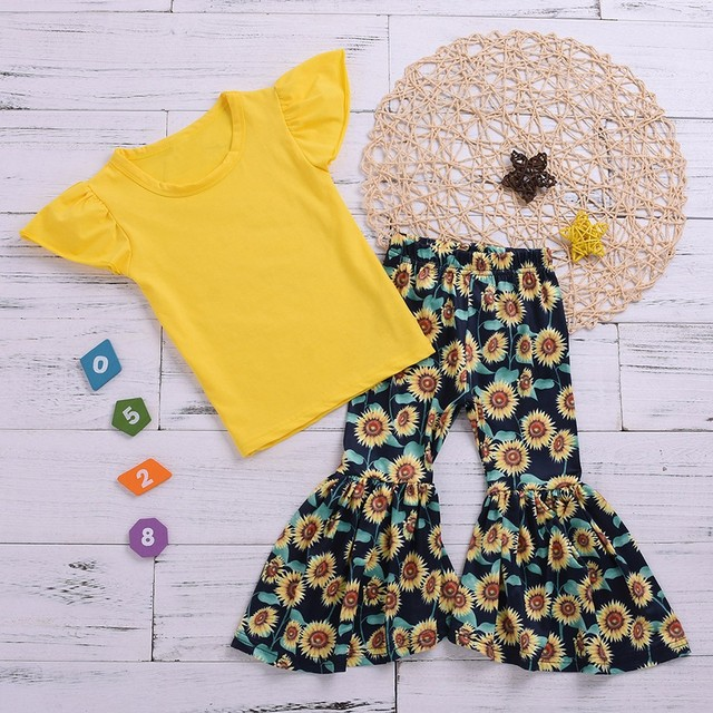 2PCS Children Clothing Set Kids Girls Summer Fly Sleeve T-shirt Tops+Sunflower Printed Loose Flared Pants Girls Outfits Set T5