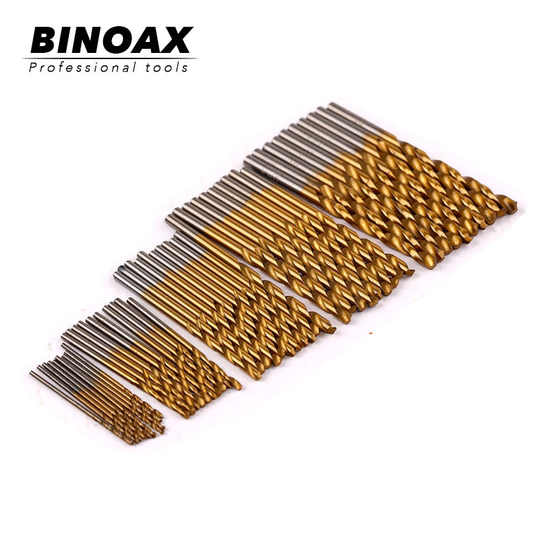 50PCS 1/1.5/2/2.5/3mm Titanium Coated HSS High Speed Steel Drill Bit Set Titanium For Wood Plastic Twist Drill Bit Set #P