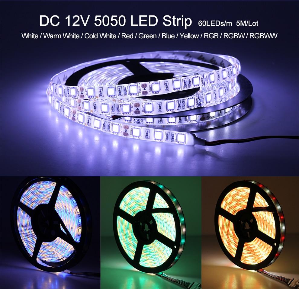 HTB1YucQKh1YBuNjy1zcq6zNcXXat LED Strip 5050 DC12V 60LEDs/m Flexible LED Light RGB RGBW 5050 LED Strip 300LEDs 5m/lot