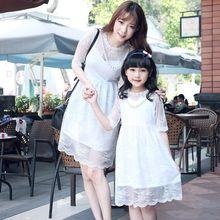 Family look для мамы и дочки кружевное платье Одинаковая одежда для матери и дочери мать и дочка повседневные платья 2 цвета