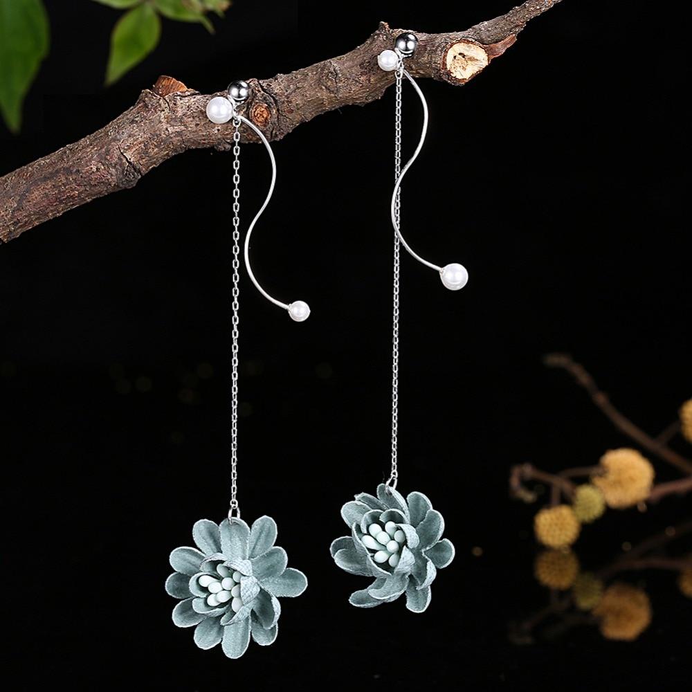 SOXY 100% Real 925 Sterling Silver Women Flower Earring Long Tassel Earring With Pearl Female Earrings Fashion Jewelery