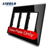 Livolo Luxury Black Pearl Crystal Glass US Standard Triple Glass Panel For Wall Switch Socket VL