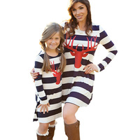 2017 Mommy Me Family Matching Mother Daughter Dresses Clothes Deer Head Striped Mom Daughter Dress Kids