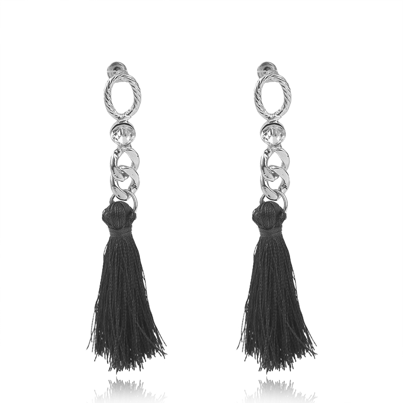 Vintage Long Tassel Drop Earrings for Women Rhinestone Silver Color Black  Navy Line Dangle Earring Ear Jewelry Brincos 6B5011-in Drop Earrings from  Jewelry ... 35d1d0386b45