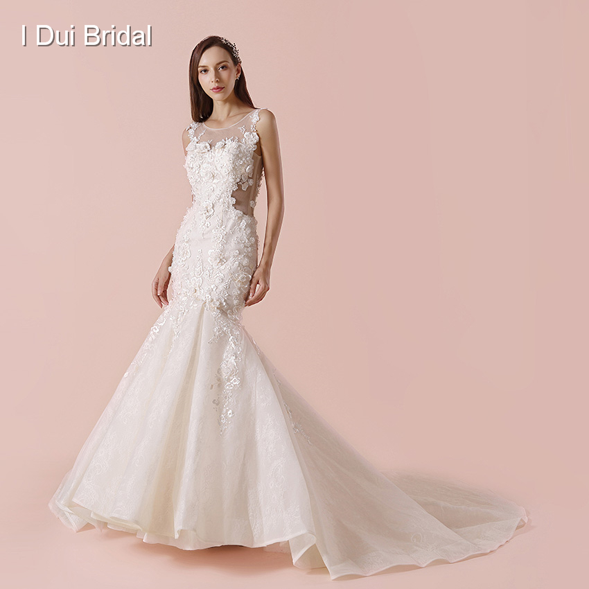 Lace Wedding Gown Designers: Mermaid Illusion Back Wedding Dresses Floral Lace Beaded