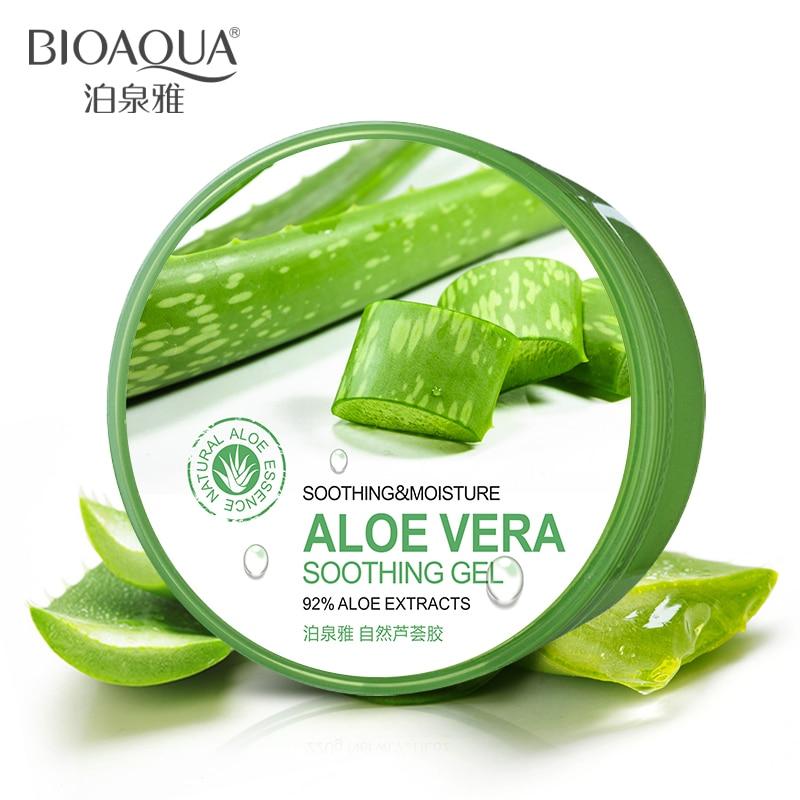 BIOAQUA Natural Aloe Vera Gel suave tratamiento del acné crema para la cara hidratante reparación húmeda después del sol envío libre