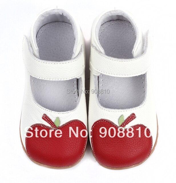 Девочка в мягкие кожаные ботинки белый мэри джейн с красное яблоко новое поступление в подарок в розницу оптовая продажа бесплатная доставка