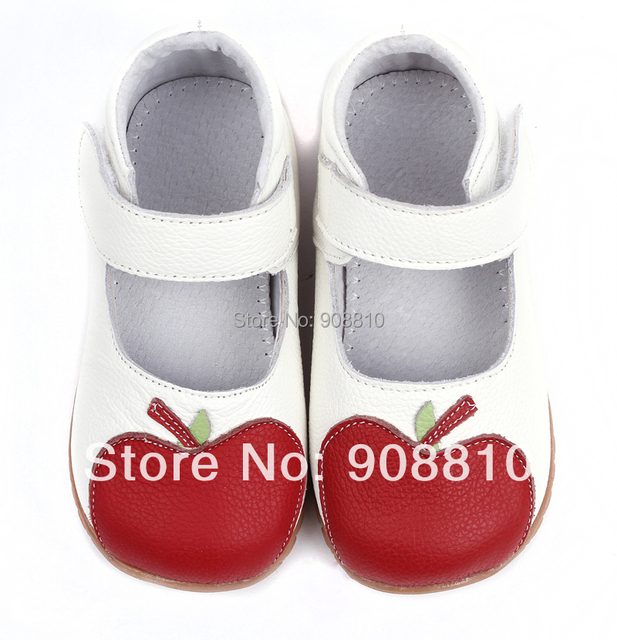 Baby girl's soft leather shoes white mary jane with red apple new arrival a gift retail wholesale free shipping
