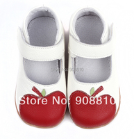 Baby Soft Leather Shoes White Mary Jane With Red Apple Wholesale Retail Free Shipping