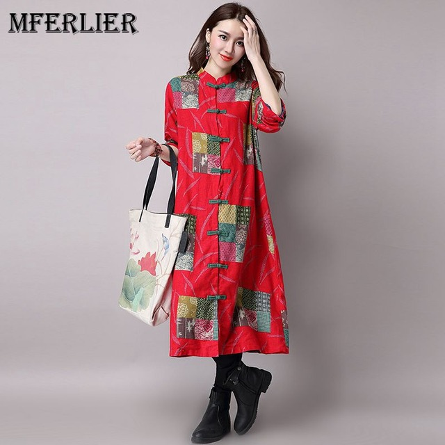 927c0e4c796 Mfelier Autumn Floral Print Trench Coat Stand Collar Plate Buckle Casaco  Feminino Single Breasted Long Trench