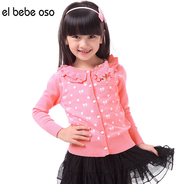 el bebe oso New Children Clothing Baby Girls Cardigan Sweaters Cute Print Dot Cotton Jacket Knitted Spring Autumn Outerwear XL51