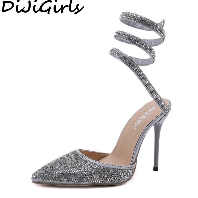 68f485f67d524d DiJiGirls 2018 Bandage Pumps Women High Heel Stiletto Spiral Twist Sandals  Gladiator Sandals Rhinestone Diamante Wedding Shoes