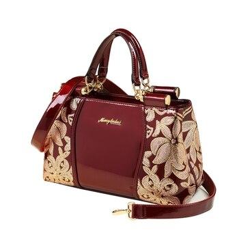 2019 newest luxury women leather handbag sequin embroidery patent leather boston shoulder messenger bags handbags famous brands