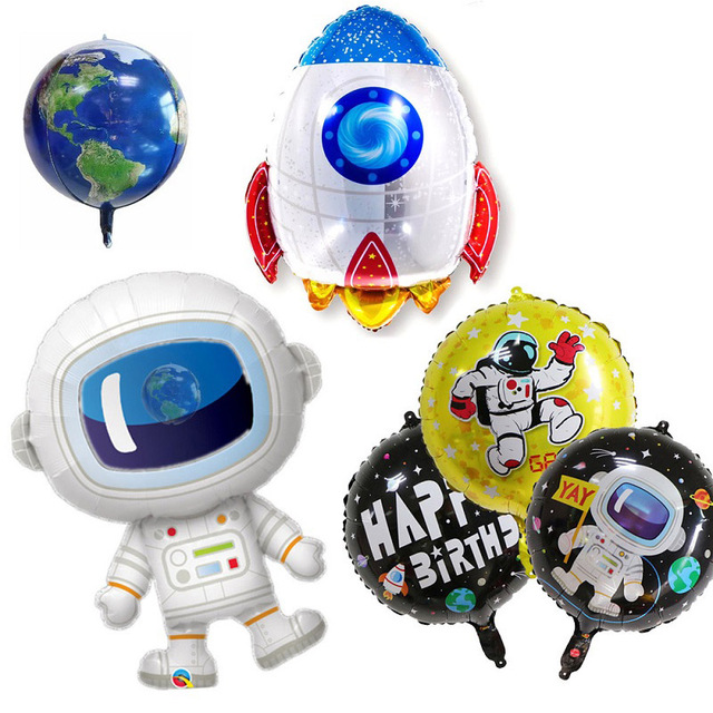 Outer Space Party Astronaut Rocket Ship Foil Balloons Galaxy/Solar System Theme Party Boy Kids Birthday Party Decoration Favors 2