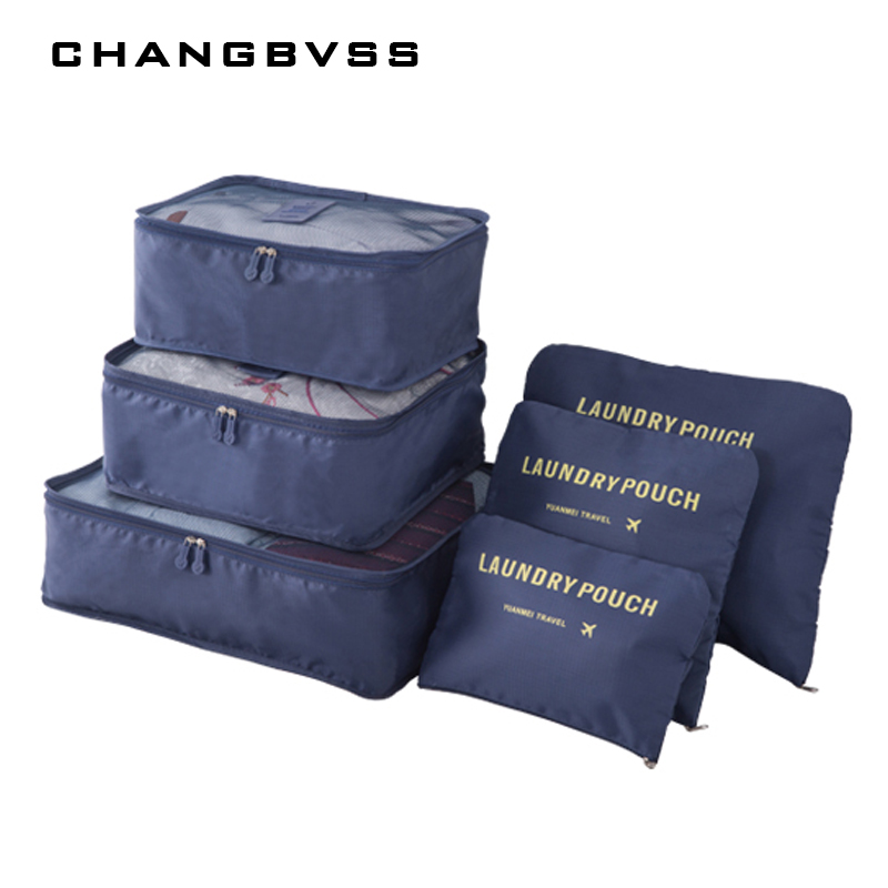 6 Pcs/Set Women Travel Storage Bag Luggage Clothes Tidy Organizer Portable Pouch Suitcase Underwear Organizer bolsa feminina
