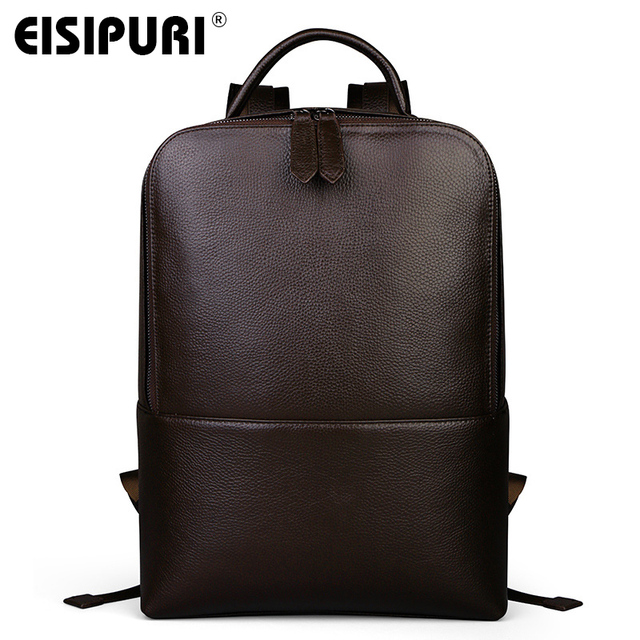 EISIPUR Fashion Men 100% Genuine Leather Backpack Male High Quality Waterproof Bagpack 15.6 Laptop Backpack Travel School Bag 2