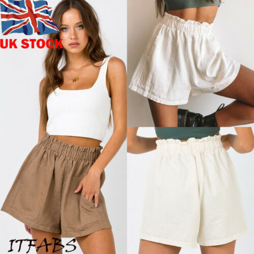 Hot Womens Girl   Shorts   Elastic High Waist Casual Fashion Ladies Beach Solid Pockets Summer Loose Trousers
