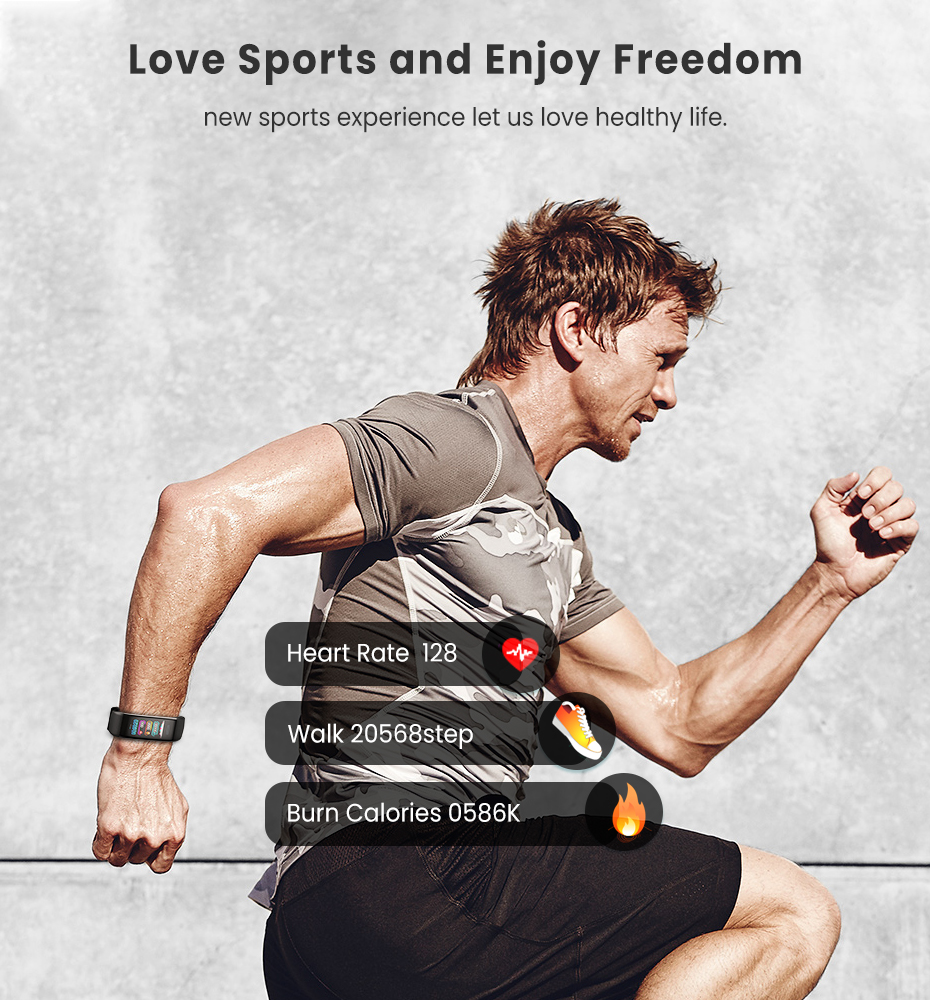Men Women 1.14 IPS OLED Color Smart Wristbands Pedometer Sports Fitness Bracelet Blood Pressure Heart Rate Monitor Android IOS 7
