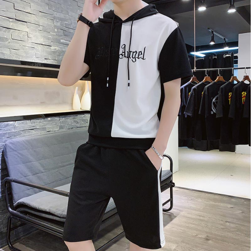 Two Piece Summer Set Men Half White Half Black Hooded Mens Short Sleeve T Shirts Shorts Men's Tracksuit Fashion Outfit Clothing