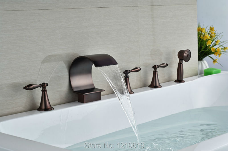 Newly Bathroom Shower Tub Faucet w/ Handheld Shower Oil-rubbed Bronze Red Bathtub Mixer Faucet Tap Deck-mount