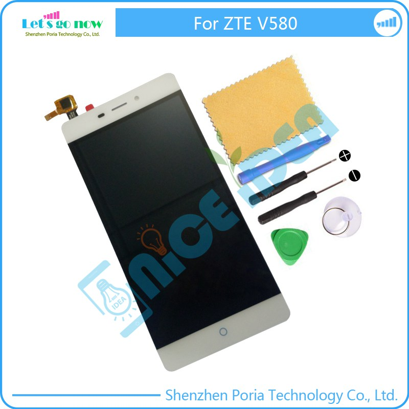 ФОТО Original White New LCD Display +Touch Screen Digitizer Panel  For ZTE Blade V580 Assembly Replacement Parts+Tools