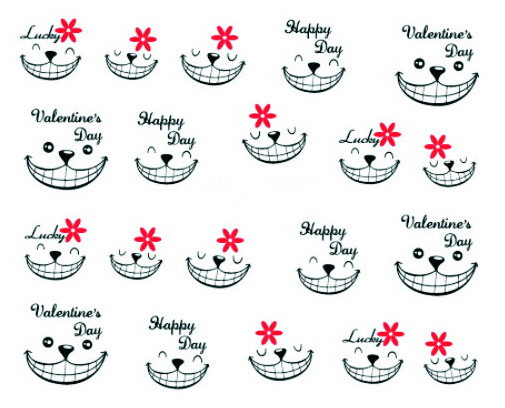 Water Transfer Nail Art Stickers Decal Happy Valentineu0027s Day Smile Face  Design French Manicure