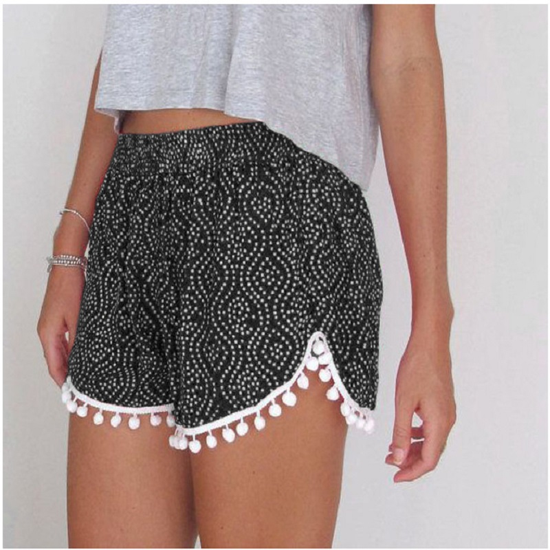 2018 Summer Floral Pom Pom Ball Shorts Women Beach Tassel Bohemian National Wind Print Loose Women's Short Feminino  XL