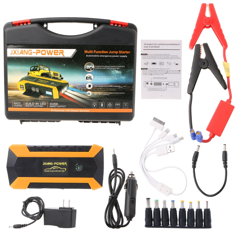 89800mAh 4 USB Portable Car Jump Starter Pack Booster Charger Battery Power Bank Support fast charging With SOS Lighting portable car jump starter power bank rechargeable start battery source aa usb power bank charger
