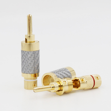 4pcs X Hifi Gold Plated Carbon Fiber Speaker Cable Wire Banana Plug Connector 7mm