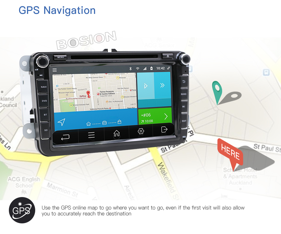 In dash Car stereo Android 7.1 Double 2Din 8 Inch Car DVD Player SD AUX-IN SWC MAP For VW/Volkswagen/POLO/PASSAT/Golf/Skoda/Seat