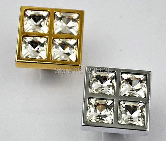 Glass Dresser Knobs Crystal Cabinet Knobs Square Silver Gold Clear / Modern  Drawer Knobs Pulls Handles